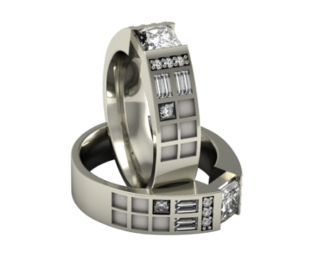 Police Box Ring in Diamonds or CZs