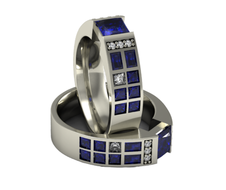 Police Box Ring in Sapphires