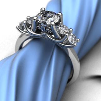 Fleur De Lis 5 Stone Ring