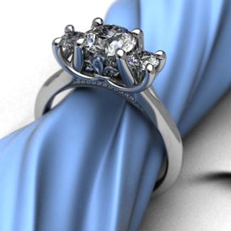 Fleur De Lis 3 Stone Ring