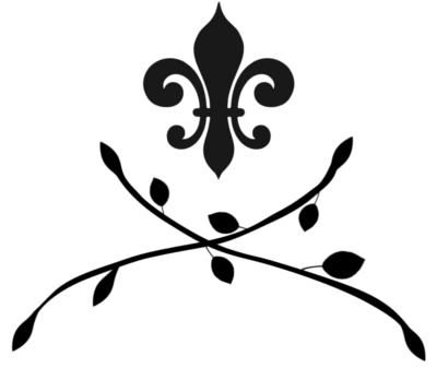 A fleur de lis with two branches with leaves in a criss cross formation